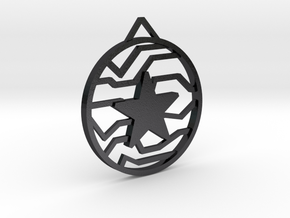 Winter Soldier Star Pendant (Large) in Polished and Bronzed Black Steel