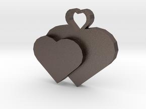 Heart2heart Pendant in Polished Bronzed Silver Steel