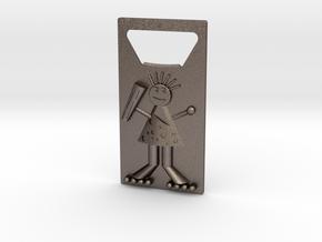 Bottle Opener (Cave Man) in Polished Bronzed Silver Steel