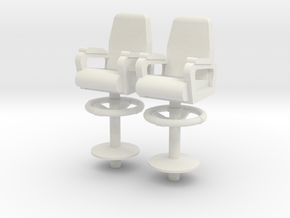 1:18 scale Capt Chairs in a a set of 2 in White Strong & Flexible