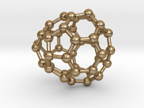 0256 Fullerene C42-35 cs in Polished Gold Steel