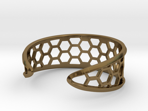 Cuff Bracelet, Honeycomb Mesh in Polished Bronze