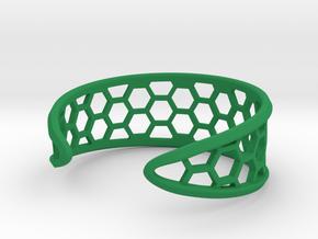 Cuff Bracelet, Honeycomb Mesh in Green Processed Versatile Plastic
