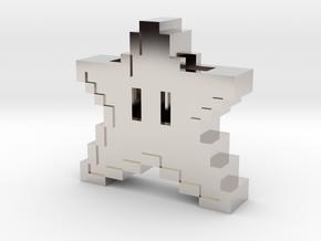 8 bit Mario Star in Rhodium Plated Brass