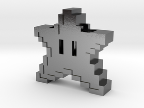 8 bit Mario Star in Polished Silver