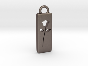 Rose Pendant in Polished Bronzed Silver Steel