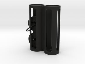 18650 Twin Battery Case v3.1 in Black Natural Versatile Plastic
