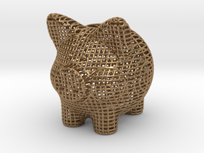 Wire Frame Piggy Bank 2 Inch Tall in Natural Brass