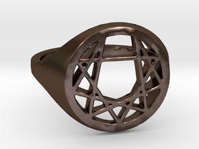 Enneagram Ring - Size 8.5 (18.54 diameter) in Polished Bronze Steel