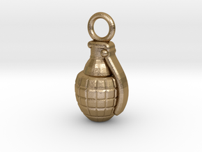 Grenade in Polished Gold Steel