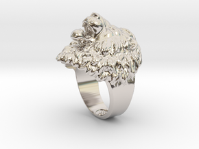 Aggressive Lion Ring in Platinum: 11.5 / 65.25