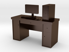 1:35 Scale PC With Desk in Polished Bronze Steel