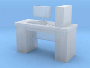 1:35 Scale PC With Desk in Smooth Fine Detail Plastic