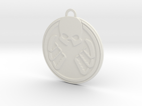 Shield Hydra Pendant in White Natural Versatile Plastic