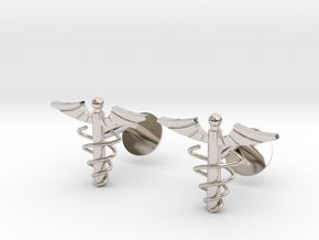 Doctor's Caduceus Cufflinks in Platinum