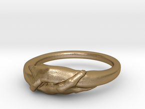 Rome Handshake Size(US)-5 (15.7 MM) in Polished Gold Steel