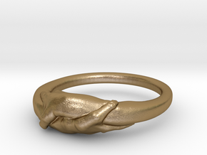 Rome Handshake Ring Size(US)-6 (16.51 MM) in Polished Gold Steel