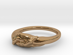 Rome Handshake Ring Size(US)-7 (17.35 MM) in Polished Brass