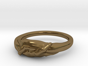 Rome Handshake Ring Size(US)-8 (18.19 MM) in Polished Bronze