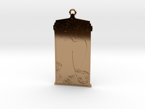 TARDIS Pendant with Weeping Angel in Polished Brass