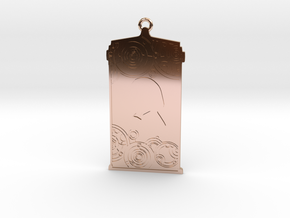 TARDIS Pendant with One in 14k Rose Gold Plated Brass