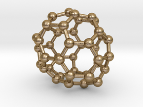 0259 Fullerene C42-38 c2 in Polished Gold Steel