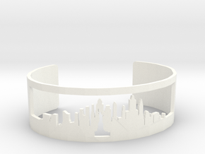 New York Skyline Cuff in White Strong & Flexible Polished