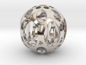Sphere housing a mobile cube in Rhodium Plated Brass