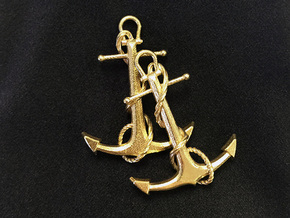 Anchor Earrings in Polished Brass