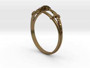 Torsades - A Triple Twisted Ring in Natural Bronze