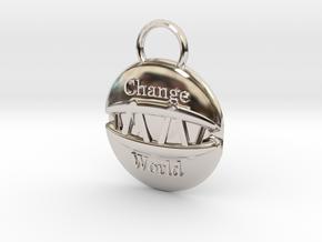 Change the world in Rhodium Plated Brass