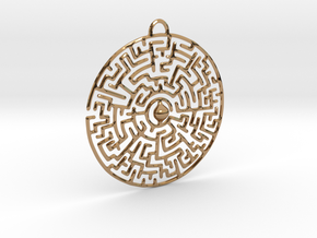 Circular Labyrinth Pendant in Polished Brass