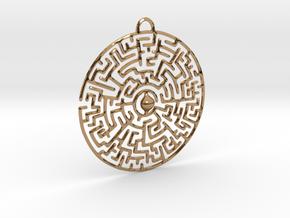 Circular Labyrinth Pendant in Polished Brass