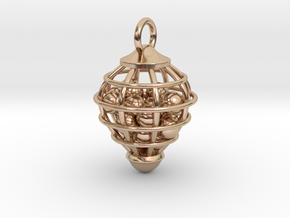Cage Pendant in 14k Rose Gold Plated Brass