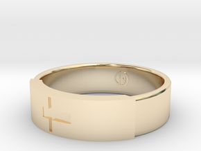 Ring with jesus in 14K Yellow Gold