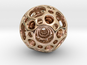Dodecahedron Nested Sphere ( Large ) in 14k Rose Gold Plated Brass