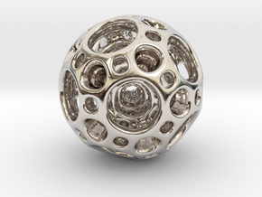 Dodecahedron Nested Sphere ( Large ) in Rhodium Plated Brass