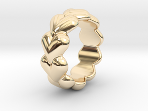 Heart Ring 14 - Italian Size 14 in 14k Gold Plated Brass