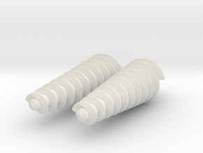 Two Twisty Drills in White Natural Versatile Plastic