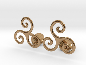 Celtic Spiral Cufflinks in Polished Brass
