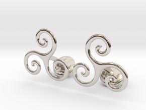 Celtic Spiral Cufflinks in Rhodium Plated Brass