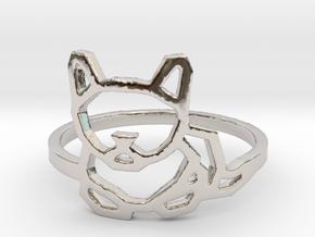 Petite Cat Ring in Rhodium Plated Brass: 6 / 51.5