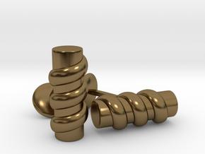 Column Cufflinks in Polished Bronze