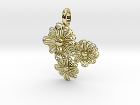 Flower Pendant in 18k Gold Plated Brass