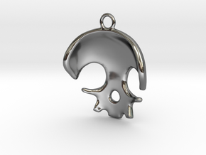 Skull in Fine Detail Polished Silver
