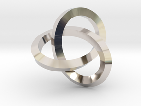 Knotted Mobius Band (Lg) in Rhodium Plated Brass
