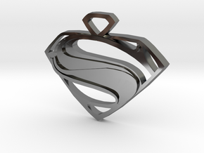 Superman Man Of Steel Pendant in Fine Detail Polished Silver