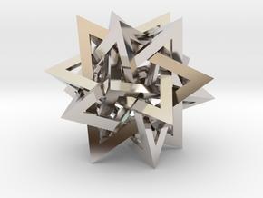 Tetrahedron 5 Compound in Rhodium Plated Brass