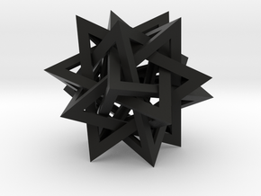 "Tetrahedron 5 Compound, 8"" diameter in Black Natural Versatile Plastic"