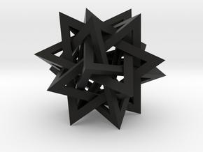"Tetrahedron 5 Compound, 8"" diameter in Black Natural Versatile Plastic"